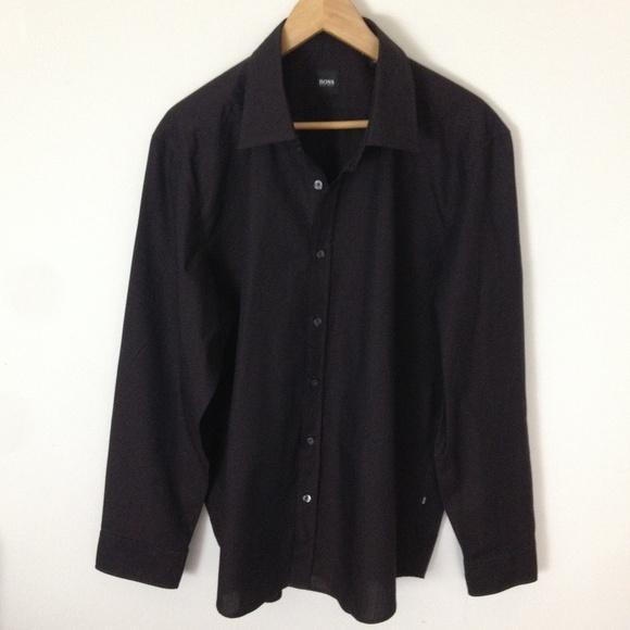 9eea1fae Hugo Boss Shirts | Black Brown Button 2xl Black Label Shirt | Poshmark
